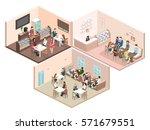 isometric interior of sweet... | Shutterstock .eps vector #571679551