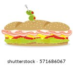 deli ham and cheese sandwich... | Shutterstock .eps vector #571686067