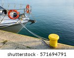 Lifebuoy On Board White Boat...