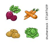 collection set of hand drawn... | Shutterstock .eps vector #571697659