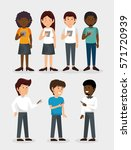 group of people using smartphone | Shutterstock .eps vector #571720939