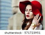 young beautiful fashionable... | Shutterstock . vector #571723951