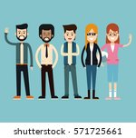 group fashionable people happy... | Shutterstock .eps vector #571725661