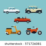 collection cars motorcycles... | Shutterstock .eps vector #571726081