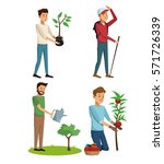 set gardeners man tree plant... | Shutterstock .eps vector #571726339