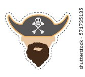pirate face beard hat with... | Shutterstock .eps vector #571735135