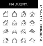set of home icons in modern... | Shutterstock .eps vector #571744705