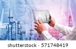 petrochemical oil refinery with ... | Shutterstock . vector #571748419