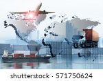 global logistics network ... | Shutterstock . vector #571750624