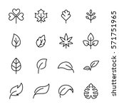 set of leaf icons in modern... | Shutterstock .eps vector #571751965