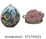 doodle art garden terrariums...   Shutterstock .eps vector #571754221