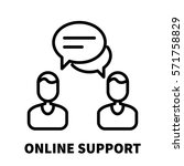 online support icon or logo in... | Shutterstock .eps vector #571758829
