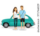 couple travel by car cartoons... | Shutterstock .eps vector #571766029