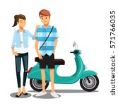 couple travel by scooter... | Shutterstock .eps vector #571766035