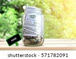 home words on blackboard with... | Shutterstock . vector #571782091