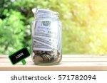 loan words on blackboard with... | Shutterstock . vector #571782094
