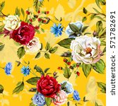 wild roses  peony  cornflowers  ... | Shutterstock .eps vector #571782691