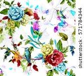 humming bird wild roses  peony  ... | Shutterstock .eps vector #571784344