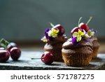 cherry cupcakes | Shutterstock . vector #571787275