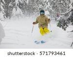 freeride skier with rucksack... | Shutterstock . vector #571793461