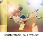 visual reality concept.young... | Shutterstock . vector #571796059