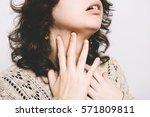 sore throat woman | Shutterstock . vector #571809811