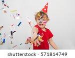 little boy having fun... | Shutterstock . vector #571814749