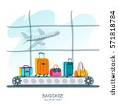 multicolor luggage  suitcase ... | Shutterstock .eps vector #571818784