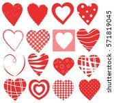 valentine day doodle hearts set | Shutterstock .eps vector #571819045