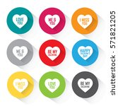 heart icon set in vibrant... | Shutterstock .eps vector #571821205