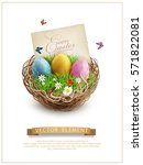 Vector Easter Eggs In A Wicker...
