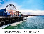 santa monica pier is a large... | Shutterstock . vector #571843615