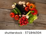 fresh vegetables on a clean... | Shutterstock . vector #571846504