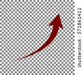 growing arrow sign. maroon icon ...