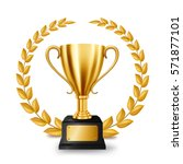realistic golden trophy with... | Shutterstock .eps vector #571877101