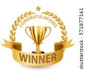 realistic golden trophy with... | Shutterstock .eps vector #571877161