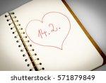 valentines day in calendar or... | Shutterstock . vector #571879849