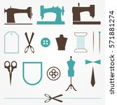 vintage tailor sewer elements... | Shutterstock .eps vector #571881274