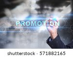 businessman drawing on virtual... | Shutterstock . vector #571882165