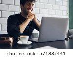 talented male editor of popular ... | Shutterstock . vector #571885441