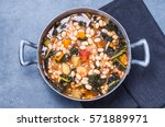 soup with beans  kale ... | Shutterstock . vector #571889971
