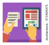 pay the bill trough internet...   Shutterstock .eps vector #571909375