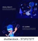 a boy using v.r. headset for... | Shutterstock .eps vector #571917277