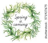 big watercolor botanical wreath....   Shutterstock . vector #571927675