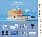 smart home infographic. modern... | Shutterstock .eps vector #571931521