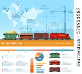 cargo train global transport... | Shutterstock .eps vector #571931587