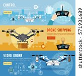 drone flat banner modern drone...   Shutterstock .eps vector #571931689