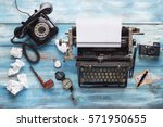 old typewriter with old vintage ... | Shutterstock . vector #571950655