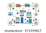 flat line design  e commerce... | Shutterstock .eps vector #571959817