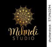 vector illustration of mehndi... | Shutterstock .eps vector #571963294